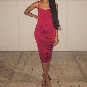 Long Ruched red wine stretchy dress